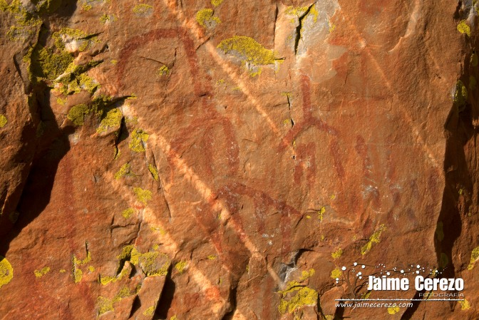 Pinturas rupestres esquemáticas en el Cancho del Reloj (Cabañas del Castillo).